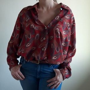 Vintage Oversized Button Down Blouse